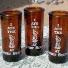 I Ate The Worm at Sunset Station set of 3 shot glasses empty of course