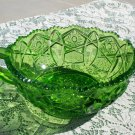 L.E. Smith Heritage Quintec Nappy Green colored bowl dish candy used and empty