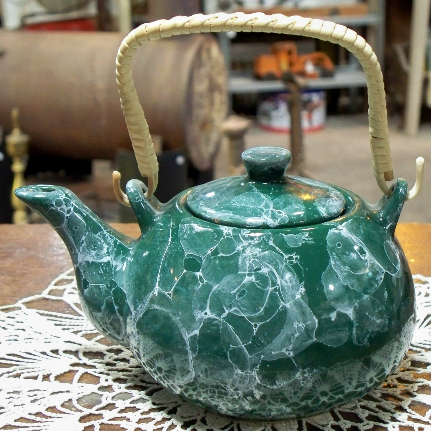 Green Swirl unmarked small porcelain teapot with wood & vinyl? wrapped handle