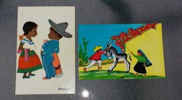 Vintage 50s 60s Folk Art Mexican Children Mexico Postcards Signed Artist Betanzos Set Of 2 Unused EX