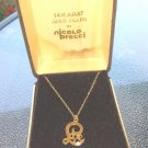 Vintage 70s NICOLO BRECCI 14K Gold Filled LOVE w/Diamond Pendant Necklace NEW IN BOX