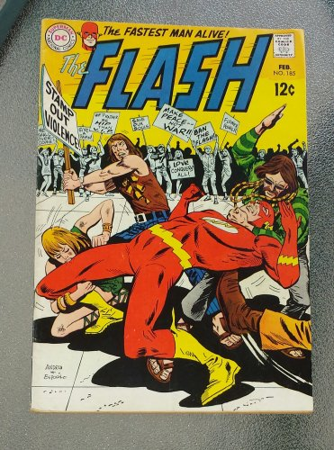 VTG DC Comics THE FLASH Feb No 185 1969 RADICAL HIPPIES ATTACK on Cover GREAT!