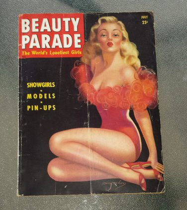 Vintage BEAUTY PARADE Pin-Up Girly Magazine The World's Loveliest Girls July 1945 DeVorss Cover