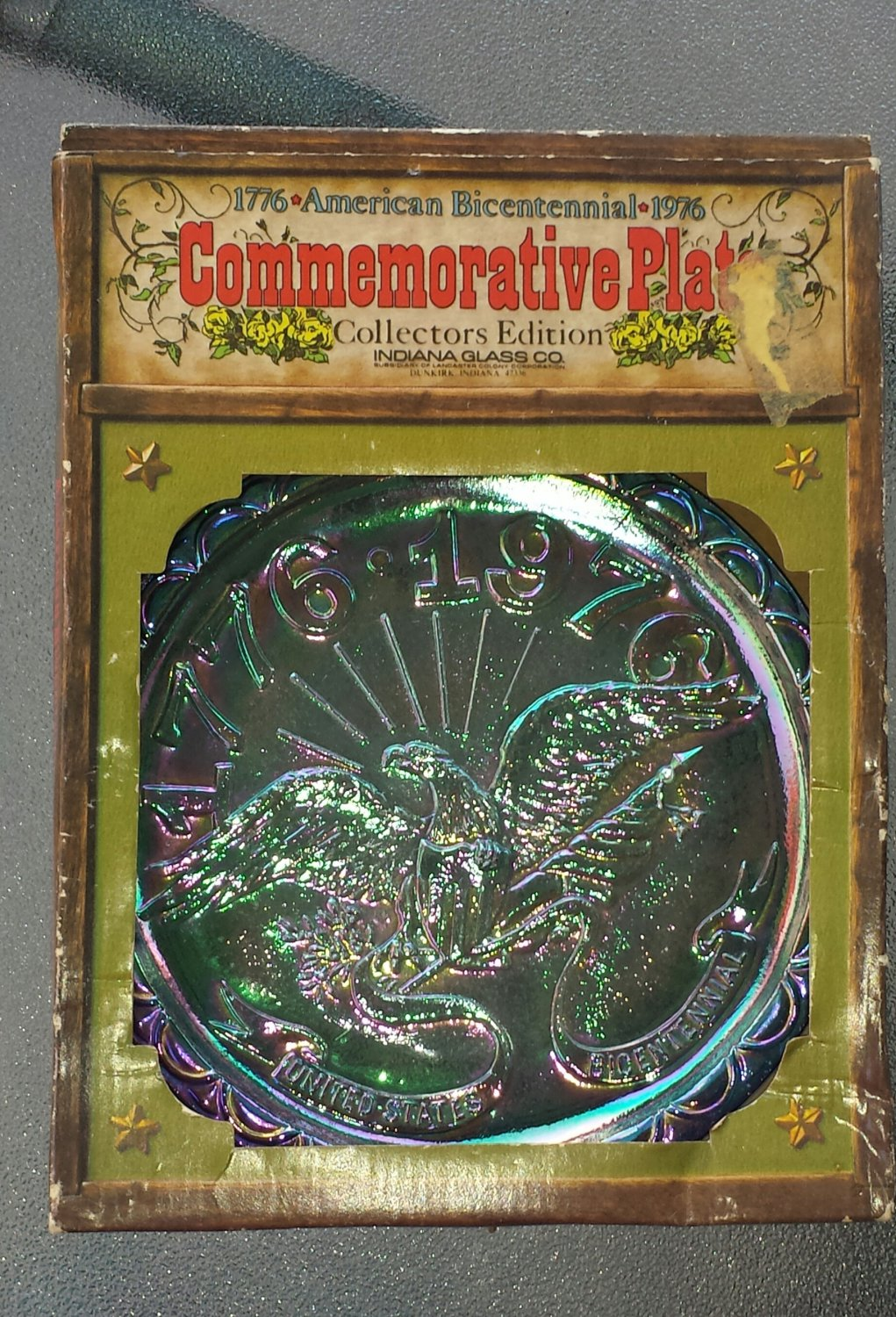 Vintage American Bicentennial Commemorative Glass Plate Collectors Edition Indiana Glass Co NIB