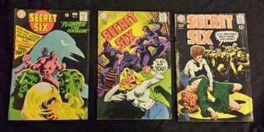 Vintage DC COMICS SECRET SIX Lot of 3 No 2 NO 5 NO 6 1968 1969 GREAT!