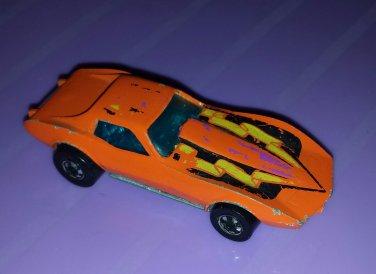Vintage 70s HOT WHEELS Orange Corvette Stingray 1975 Hong Kong Diecast Toy Car