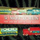 VINTAGE 5 MOT-O-RUN CARS MAGIC MOTION 1949 LOUIS MARX & CO. NIB + 2 BONUS loose cars