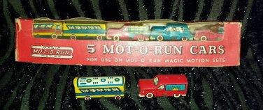 VINTAGE 5 MOT-O-RUN CARS MAGIC MOTION 1949 LOUIS MARX & CO. NIB + 2 BONUS loose cars