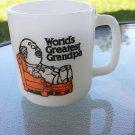 Vintage 70s WORLD'S GREATEST GRANDPA Milk Glass Coffee Mug Novelty Gift