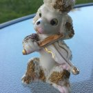 Vintage Antique 50s Spaghetti Poodle Ceramic Figure Playing Fiddle Violin
