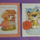 Vintage 1970s 2 Birthday Greeting Cards Cute Juvenile Little Girl and Kitten arts and crafts