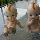 Antique 40s 50s Set of 2 Bisque Porcelain Kewpie Dolls Figurines w Blue Wings Taiwan