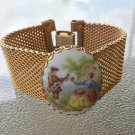 Vintage 60s Fragonard Courting Couple Painted Porcelain Cameo Mesh Band Bracelet