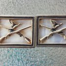 MEN'S Vintage 50s Mother Of Pearl Crossed Rifles Cufflinks Signed SWANK