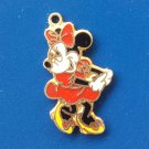Vintage 70s MINNIE MOUSE Disney Enamel Cloisonne Gold Tone Charm Novelty Necklace Pendant