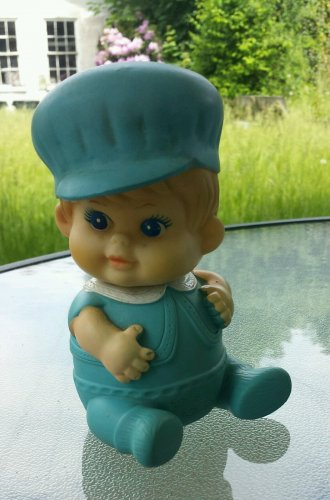 RARE VTG 1968 IWAI Blue Eyed Baby Boy  Rubber Vinyl Baby Squeeze Squeak Toy Made in Japan
