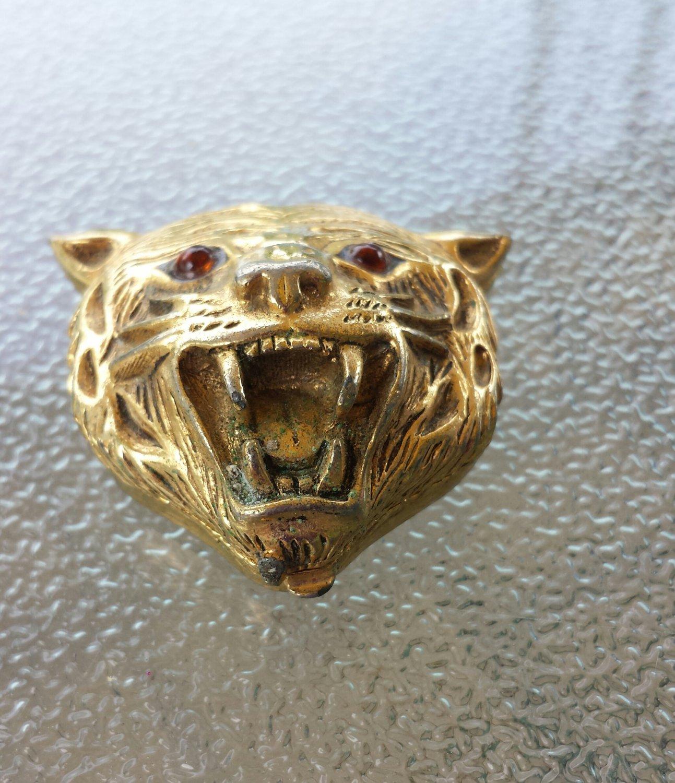 RARE VTG 1960s Signed FABERGE ORIGINAL Gold Tone Tiger