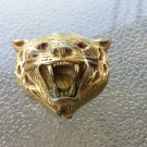 RARE VTG 1960s Signed FABERGE ORIGINAL Gold tone Tiger Head Perfume Locket Necklace Charm Pendant