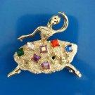 Vintage Multicolor Rhinestone Dancing Ballerina Pin Brooch
