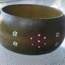 Vintage 60s boho hippie Hand Painted Flowers Wood Bangle Cuff Bracelet