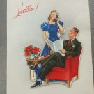 Vintage 1940s Lady on Phone and Gentleman Handsome Couple Christmas Greeting Card