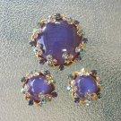 Vintage 50s Aurora Borealis Shimmering Rhinestone Austrian Crystal Brooch Pin & Clip On Earrings Set