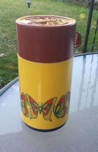 Vintage Groovy 70s Butterfly Print Aladdin Thermos 8 Oz Size