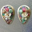 Vintage 50s Colored Mini Seashells Rhinestones Pearls Tropical Artsy Clip On Earrings