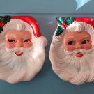 Vintage 1950s Wales Jolly Santa Claus Face Christmas Ceramic Wall Plaque Candy Dish set of 2