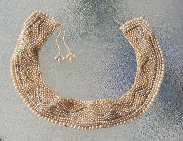 Vintage 1940s Top Hit Baar & Beards Japan Handmade Faux Pearl Beaded Collar Necklace