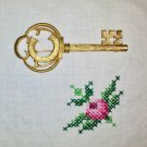 THE KEY TO MY HEART Vintage Skeleton Key Gold Tone Brooch Pin Signed BSK
