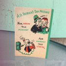 Vintage 1940s A St. Patrick's Day Message Humorous Greeting Card Illustrated Booklet  RUFFTEX