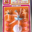 VTG 70s Girl's Birthday Party Ballerina Cake Decorations Cake Topper Candle Holders MIP NOS SEALED