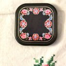 Vintage 80s AVON Black Floral Enamel 2 Sided Handheld Compact Mirror