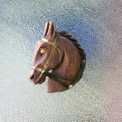 Antique 1940s Hand Carved Wooden Horse Head Figural Pin Brooch EX