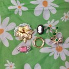 Vintage 60s 70s Costume Jewelry Pins Brooches Lot of 5 (flawed but nice)