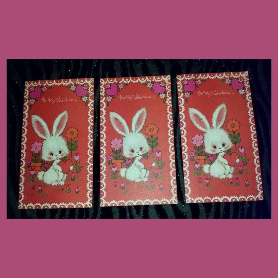 Vintage 70s Groovy Valentine's Day Greeting Cards Lot of 3 UNUSED