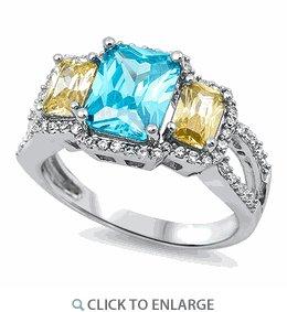 Sterling Silver 3 Stone Aquamarine Peridot CZ Ring
