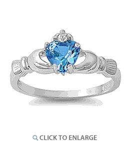 Sterling Silver Claddagh Blue Zircon CZ Ring