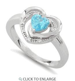 Sterling Silver Precious Heart Blue Topaz CZ Ring