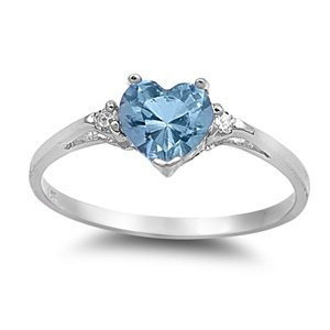 Sterling Silver Aqua Heart CZ Ring-SRZ644