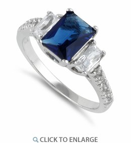 Sterling Silver Rectangular Blue Sapphire CZ Ring