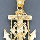 10k Gold Diamond Cut Jesus Cross And Anchor Pendant 31mX36m