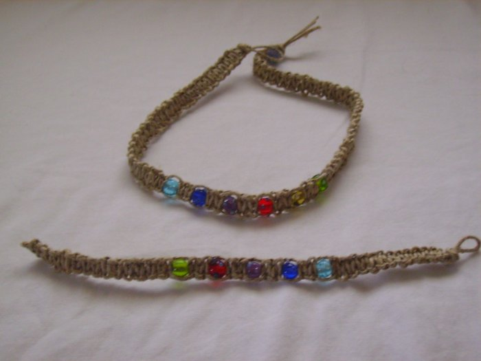 Multiclored Hemp Jewelry set