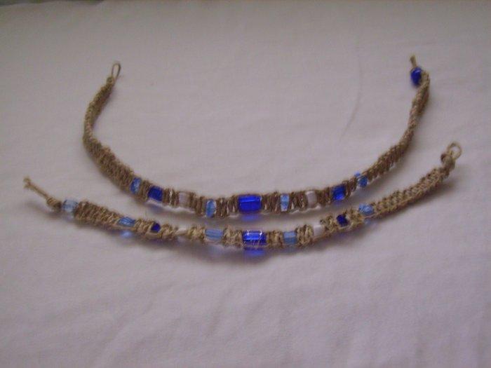 Blue and White Hemp Jewelry set