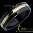 Black & Gold Titanium Fashion Band - ring size 4.5, 5, 5.5, 6, 6.5, 7, 7.5, 8, 8.5, 9