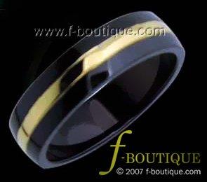 Black & Gold Titanium Fashion Band - ring size 4.5, 5, 5.5, 6, 6.5, 7, 7.5, 8, 8.5, 9