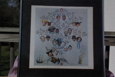 """Norman Rockwell Vintage framed print """" The Family Tree """""""