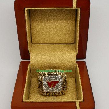 2003 Virginia Tech Hokies Insight Bowl NCAA Football National Championship Ring