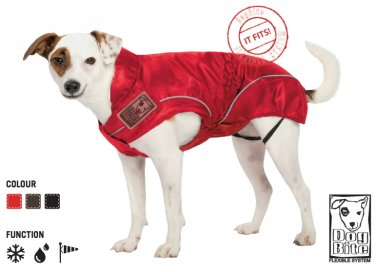 """On Sale: (L) Dog Rain Jacket / All-Year Jacket, 19-3/8"""", Red, Water Resistant"""
